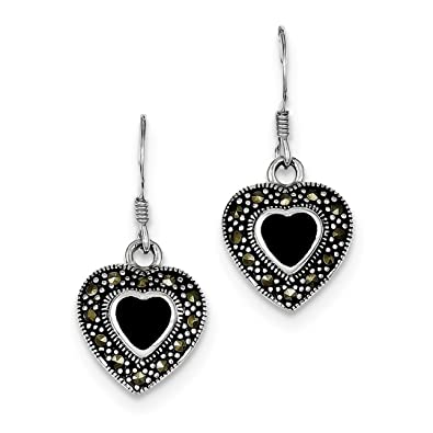 Amazon ice carats 925 sterling silver black onyx heart ice carats 925 sterling silver black onyx heart marcasite drop dangle chandelier earrings love fine jewelry aloadofball Image collections