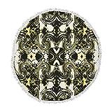 KESS InHouse Dawid Rocthe Palace Walls II Yellow Black Round Beach Towel Blanket