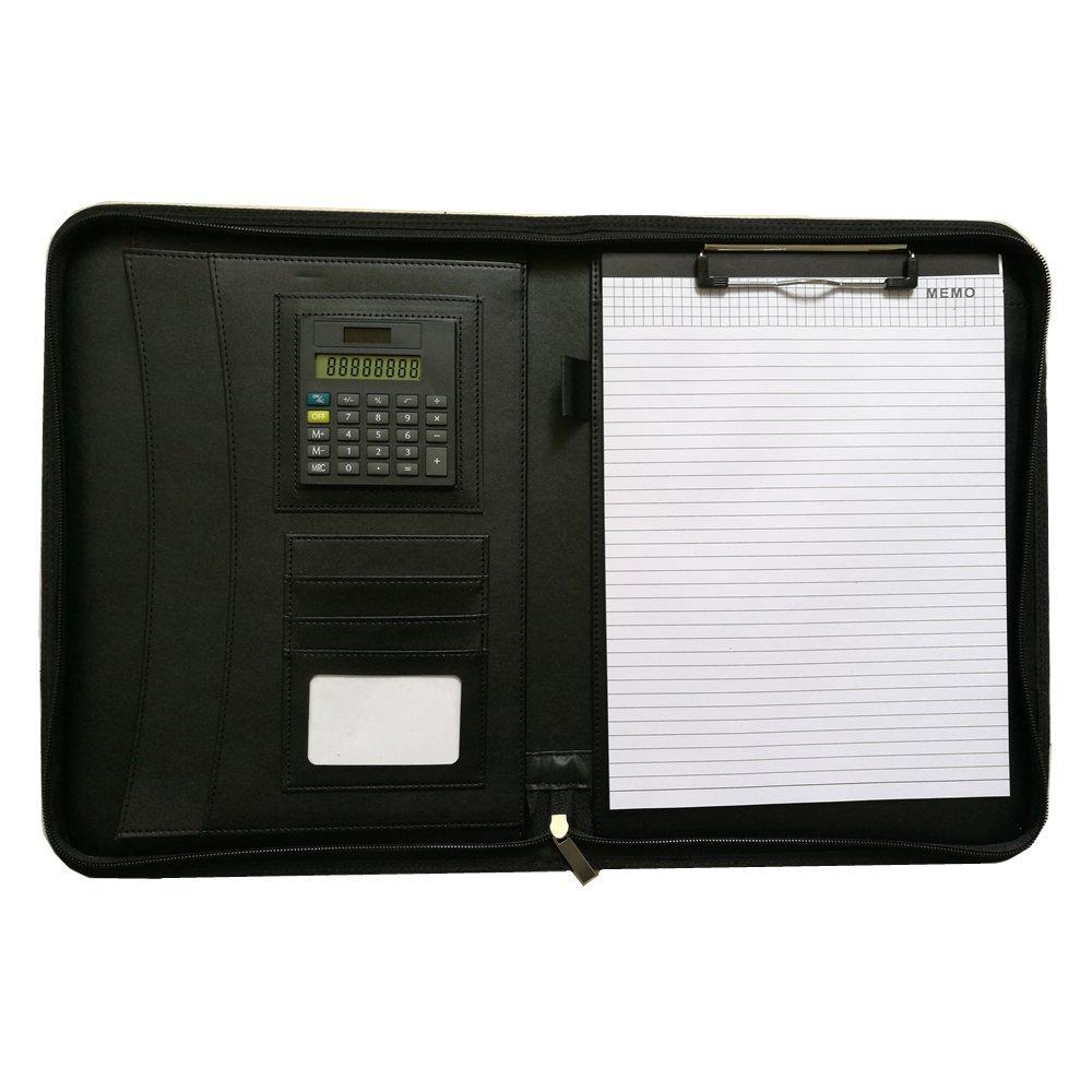 Porte-documents A4 Portfolio Calculatrice Zipp/é Organiseur Porte-bloc Conf/érencier Homme Femme Professionnelle iPad Bloc-notes Classeur Portefeuille Noir