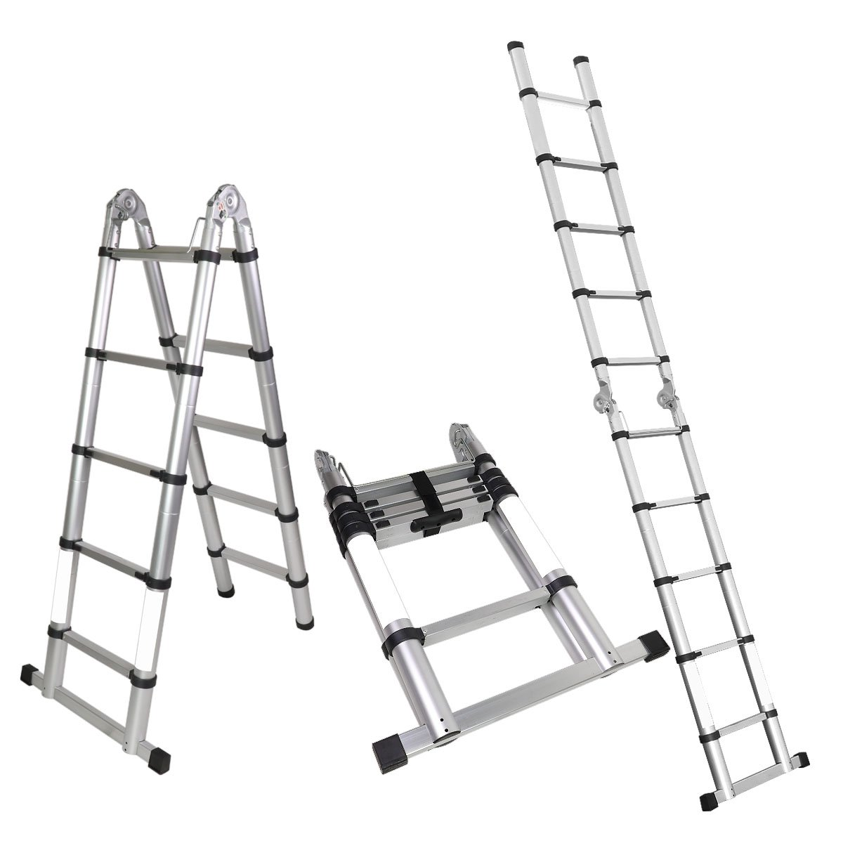 Magshion A-Frame 10.5 FT Aluminum Ladder Telescopic Extension Tall Multi Purpose EN131