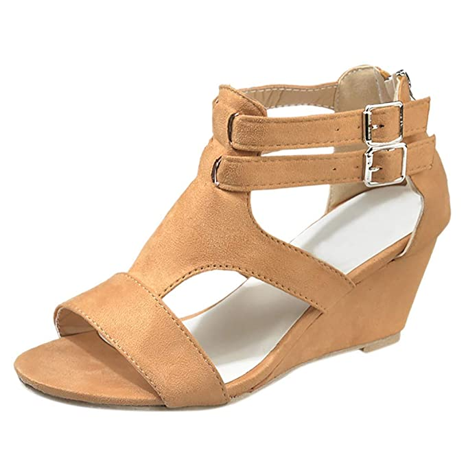 11cb3f1489 Image Unavailable. Image not available for. Color: Women 2019 Summer New  Sandals,Women Wedges Retro Casual Shoes Ladies Girls Strap Gladiator Roman