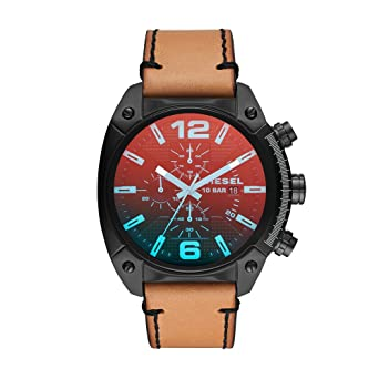 Amazon.com: Diesel Mens Overflow Quartz Stainless Steel and Leather Casual Watch, Color:Brown (Model: DZ4482): Diesel: Watches
