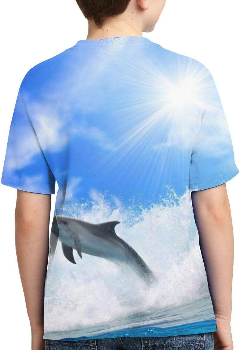 Dolphins Sea Sky Unisex Children Teens O Collar Short Sleeve Tshirts Girl Boys Graphic Tee Shirt Tops M