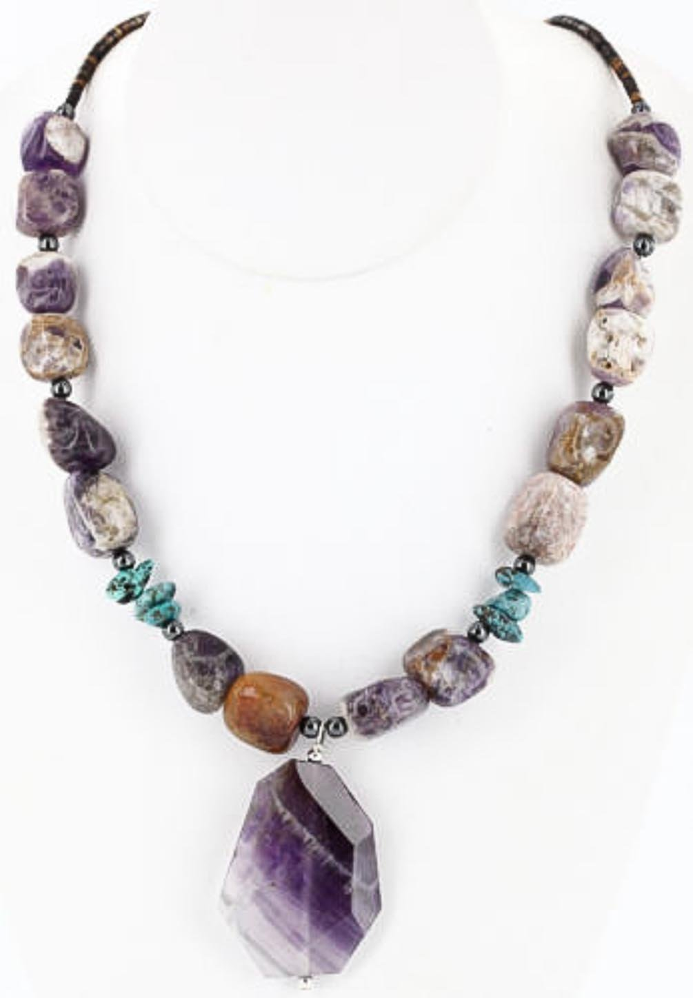 Large $350 Retail Tag Authentic Silver Navajo Natural Turquoise and Amethyst Native American Necklace