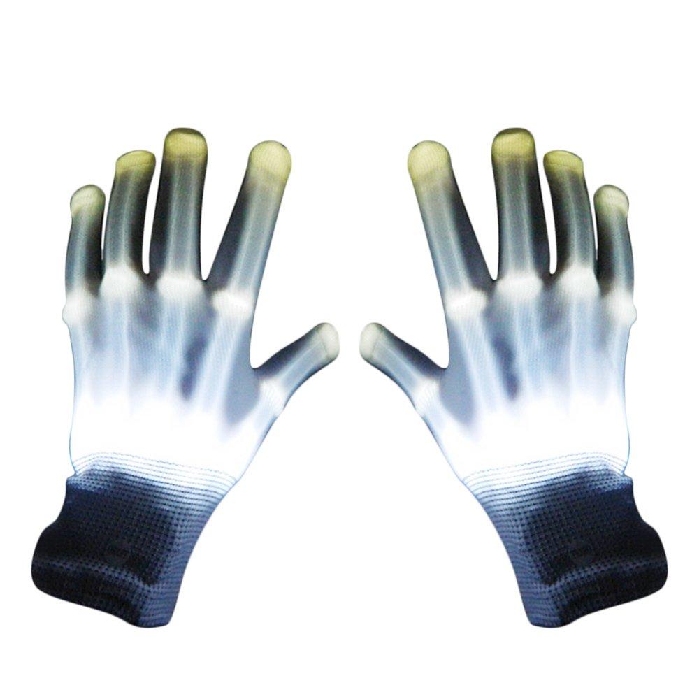 1 Par Guantes con iluminación LED, Brillantes intermitentes algodón dedo guantes de mano de luces colorida para bailar carnaval concierto Halloween Party (Blanco) Gosear