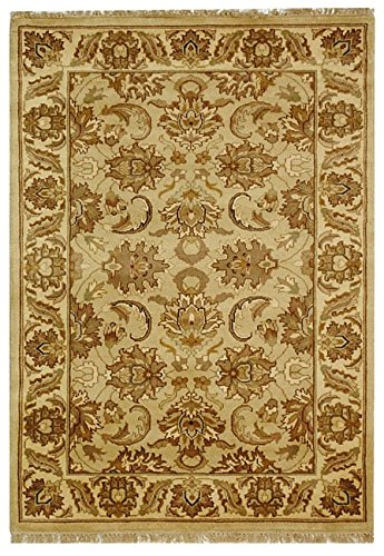 Safavieh Dynasty Collection DY207A Hand-Knotted Beige and Ivory Premium Wool Area Rug (5' x 8')