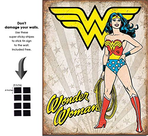 Shop72 Tin Sign DC Comic Series Wonder Woman Super Hero Metal Tin Sign Retro Vintage - with Sticky Stripes No Damage to Walls ()