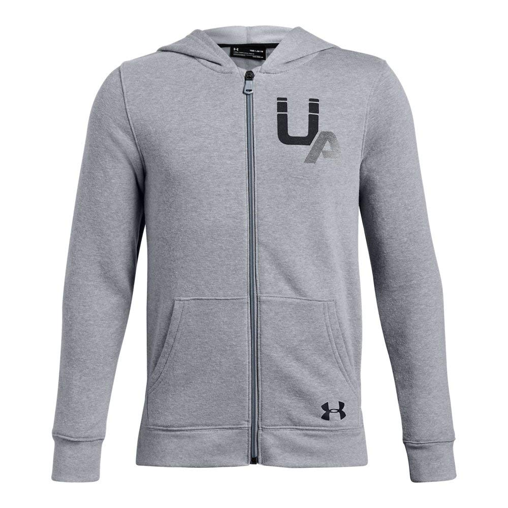 Under Armour Boys Rival Logo Full Zip, Steel Light Heather (035)/Black, Youth Large
