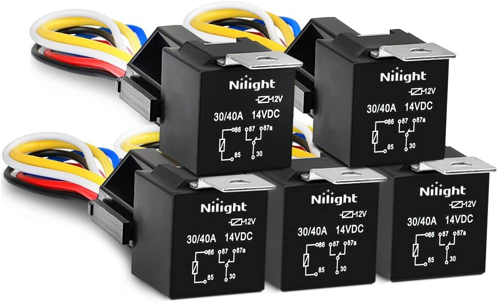Amazon.com: Nilight 50003R Automotive Set 5-Pin 30/40A 12V SPDT with  Interlocking Relay Socket and Wiring Harness-5 Pack, 2 Years Warranty:  AutomotiveAmazon.com