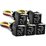 Nilight 50003R Automotive Set 5-Pin 30/40A 12V SPDT with Interlocking Relay Socket and Wiring Harness-5 Pack, 2 Years…