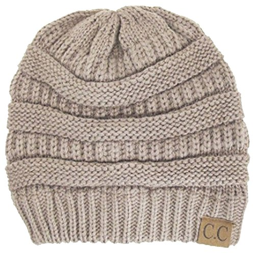 Thick Slouchy Knit Oversized Beanie Cap Hat,One Size,Beige ()