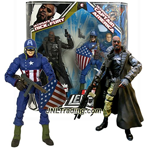 Hasbro Year 2008 Marvel Legends 2 Pack 7 Inch Tall Action Figure Set - ULTIMATE NICK FURY & CAPTAIN AMERICA with Interchangeable Parts & - Marvel Hasbro 2008 Legends