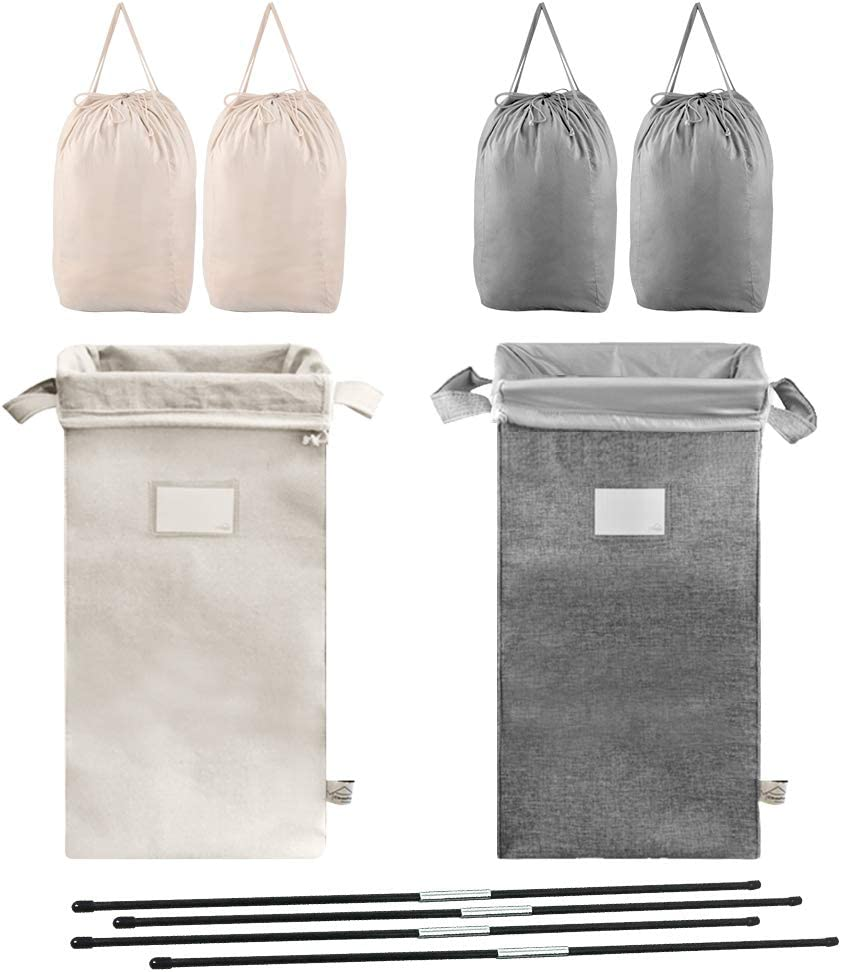 MCleanPin Double Laundry Hamper with 4 Removable Laundry Bags,2 Pack Collapsible Laundry Sorters with Sorting Card, 2 Section Dirty Clothes Hamper Dorm Room for College (Grey Beige)