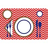 MRSGOODEMANNERS Children's Manners and Table Setting Placemat, Red Chevron