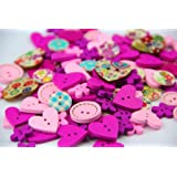 Pack of over 95pcs Pink&Purple various shapes 2 holes Wood Buttons(15-20MM) package for Sewing Scrapbooking