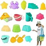 YKB Kids Beach Sand Toys Set - 18 Pieces Beach Toys Molds Kit with Sand Tools Sand Molds,Bucket,Shovel,Car,Cute Animals,Water
