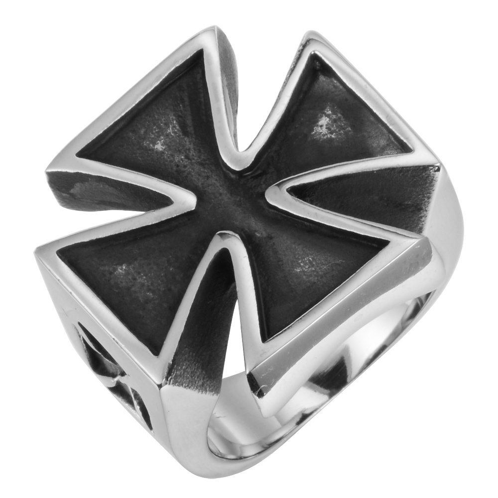 RnBJewelry Men's Ring Bad Ass Collection Holy Molly XL Cross in Black n  Silver Stainless Steel