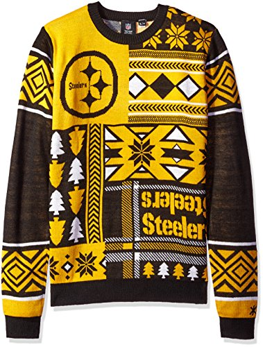 Pittsburgh Steelers Patches Ugly Crew Neck Sweater Extra Large