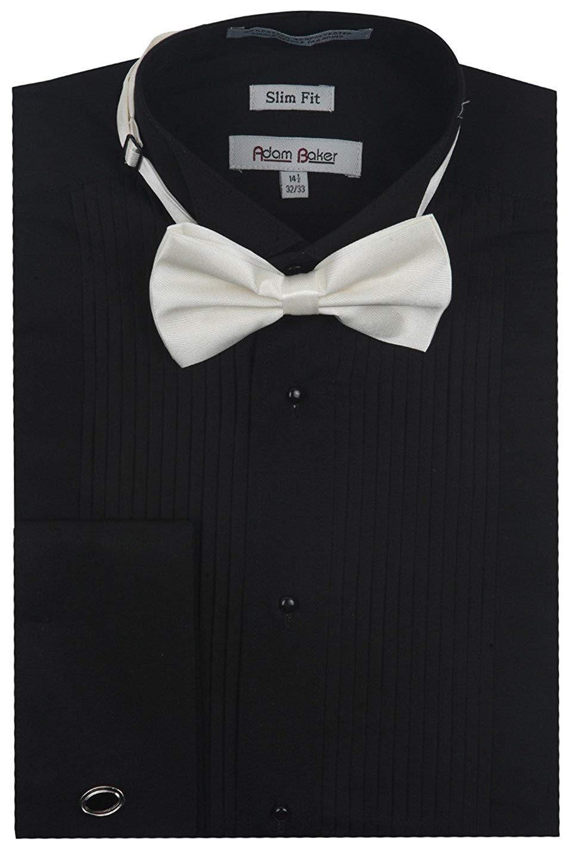 Adam Baker Men's 1923 Slim Fit Wingtip Collar French Cuff Tuxedo Shirt - Black - 18.5 6-7 by Adam Baker