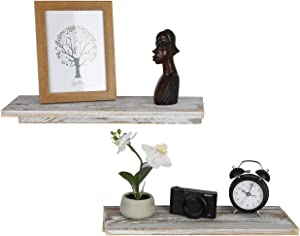 OROPY Solid Wood Floating Shelves Set of 2, Rustic Wall Hanging Shelf for Books, Trophies, Photos, Home Decor 15.75''/L X 5.9''/W (Rustic White)