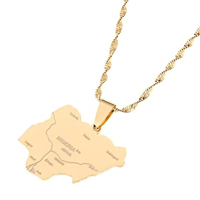 Africa Map Nigeria.Amazon Com Nigeria Map Pendant Necklaces Country Maps Africa