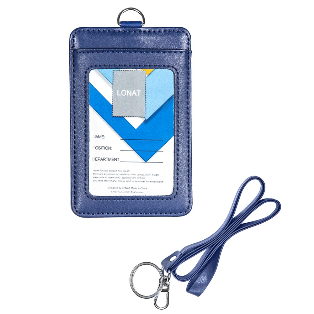 Badge Holder, Double Sided Genuine Leather Work ID Badge Card Holder with Lanyard, 3 Card Slots and RF Shield for Offices ID, School ID, Driver Licence (Blue)