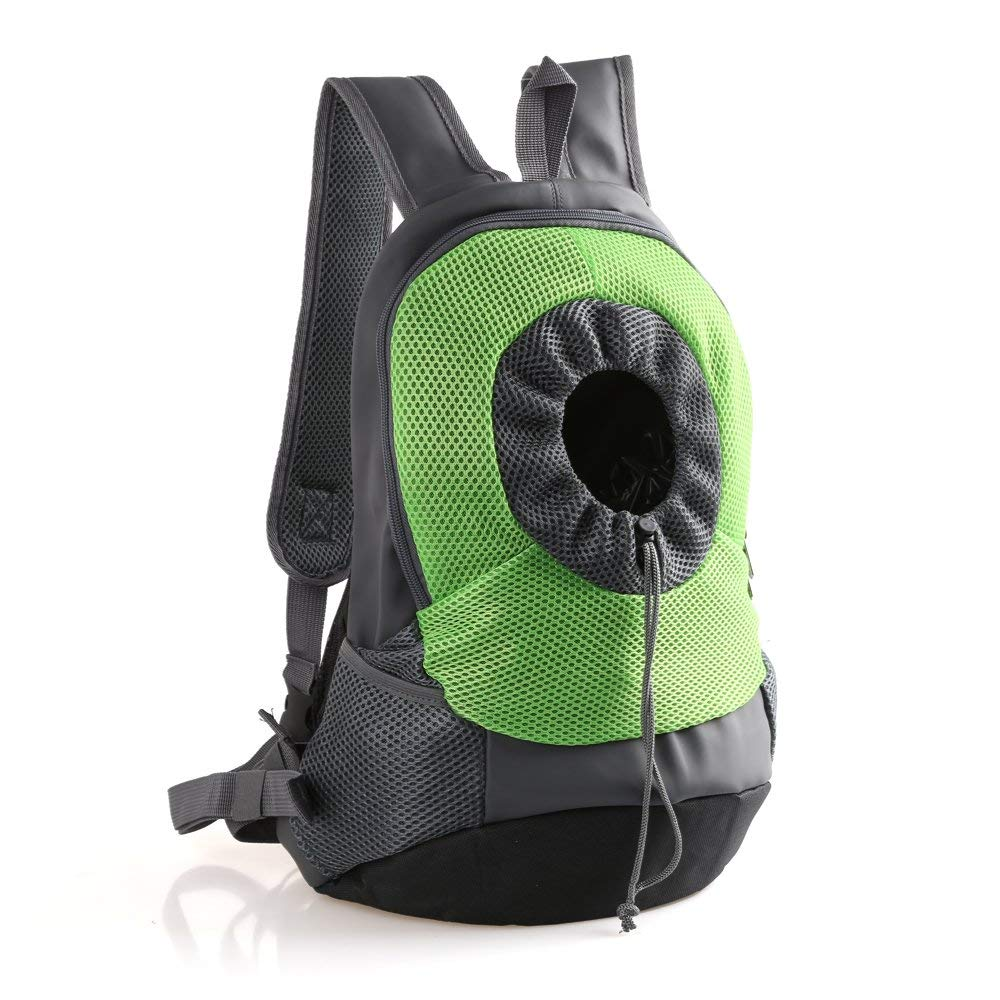 Green Small Green Small Pet Backpack, Breathable Comfortable Pet Carrier Backpack Cat Dog Front Travel Shoulder Bag for Biking, Hiking, Trip, Shopping, Going Out or Travelling Packet,Green,S