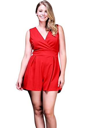 4da8c0f2b146 Amazon.com  Nyteez Women s Plus Size Pleated Romper Short Jumpsuit ...