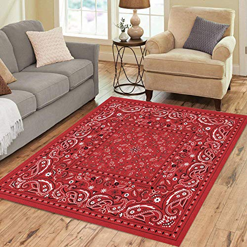 Pinbeam Area Rug Colorful Pattern Red Paisley Bandana Bandanna Kerchief Black Home Decor Floor Rug 5' x 7' Carpet