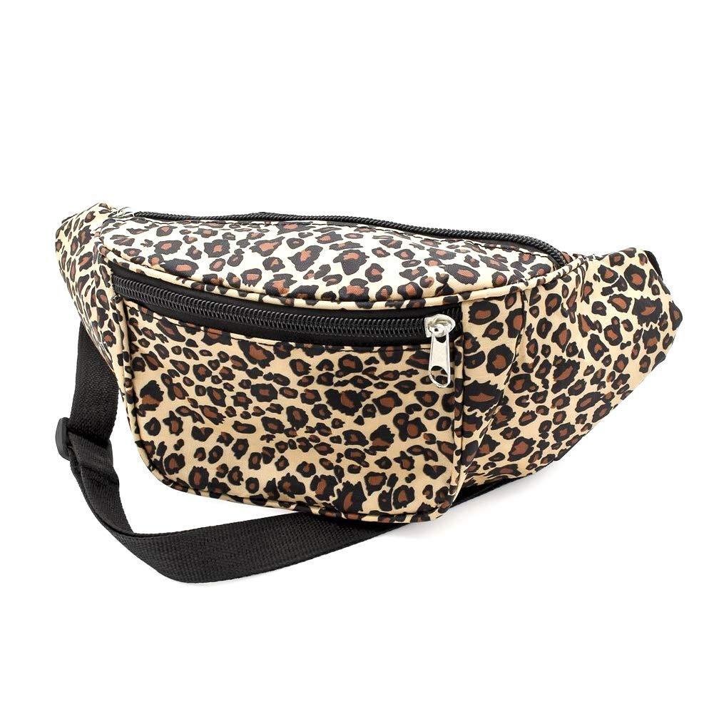 Womens/Girls Fashion Brown Leopard Print Zip Carrier Lightweight Bum Bag - Ideal for 80s festivals/concerts
