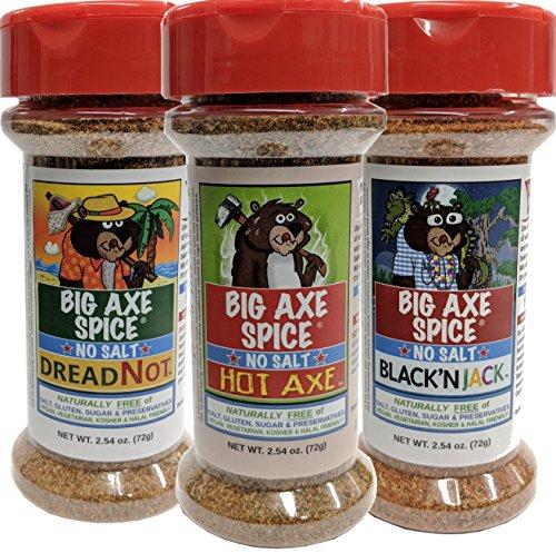 Big Axe Spice BURNING BEAR SEASONINGS COMBO 3-PACK: DreadNot, Hot Axe & Black'nJack! Sodium Free Seasoning Blends