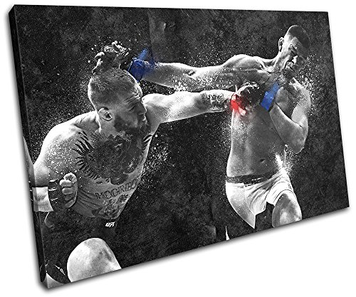 Bold Bloc Design – Conor Mcgregor Nate Diaz UFC MMA Sports 75x50cm SINGLE Canvas Art Print Box Framed Picture Wall Hanging – Hand Made In The UK – Fra…
