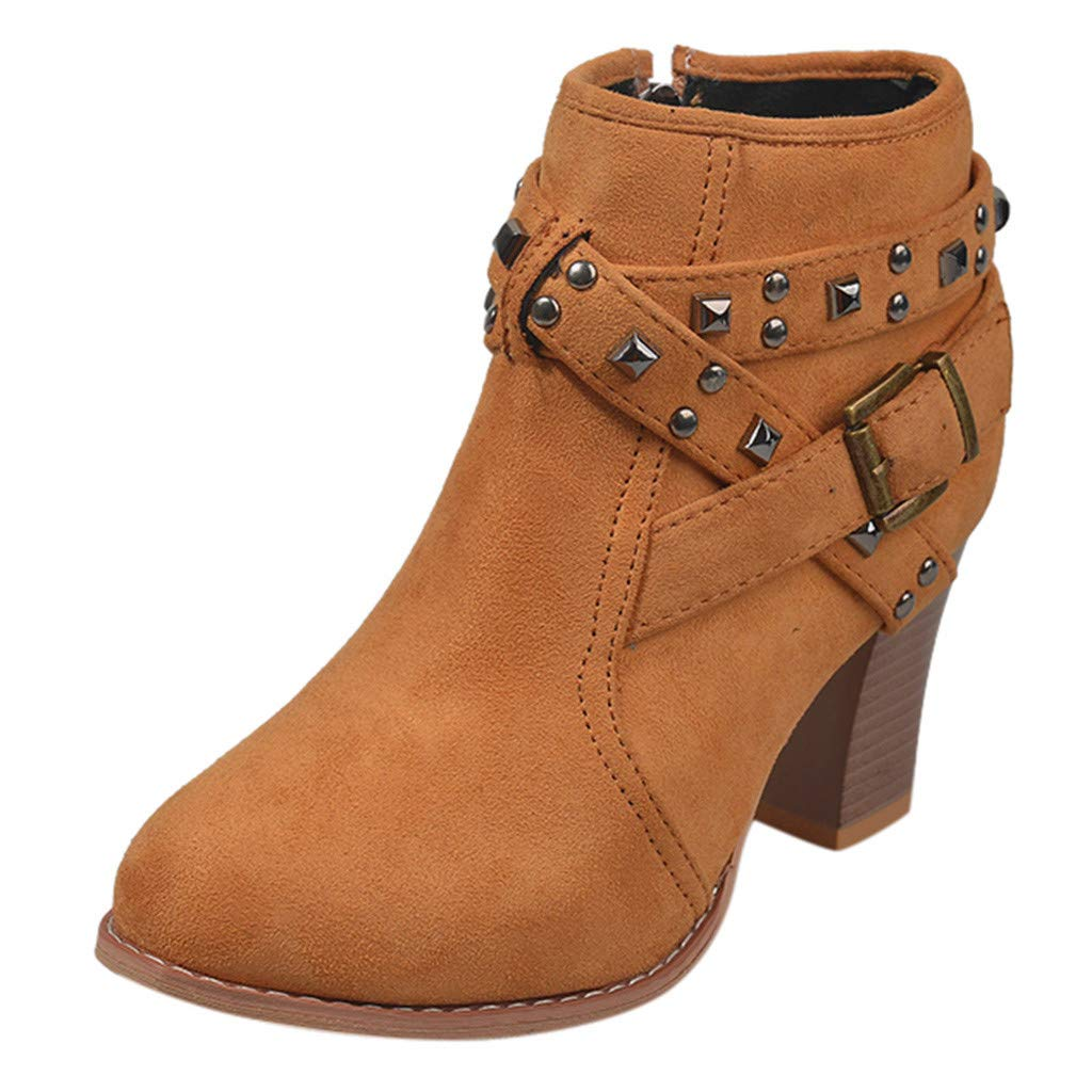 Dermanony Fashion Womens Ankle Boots Suede Square Rough Heels Zipper Rivets Short Boots Round Toe High Heels Shoes Brown by Dermanony _Shoes