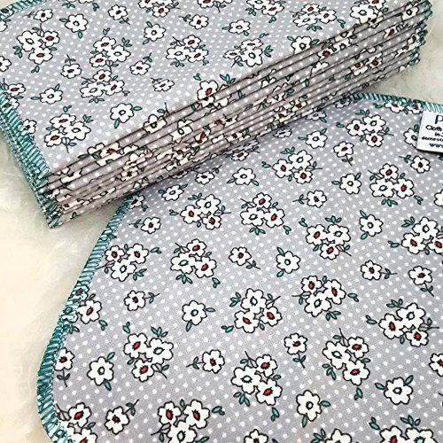 Ditzy Floral 12 Pack ECO CLOTH WIPES//100% Cotton ~ Large 8x8'' ~ Double Layer/2 ply by Primm n Proper Baby