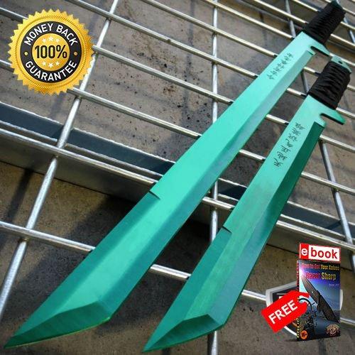 27'' 18'' NINJA DUAL SWORD Samurai Machete COMBAT FANTASY KNIFE Sheath GREEN SET For Hunting Tactical Camping Cosplay + eBOOK by MOON KNIVES
