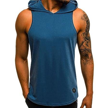Amazon.com: Ugood Herren Tanktop Aufdruck T-Shirt Muskelshirt Sport Fitness Kapuze Mix (Red, Size:M): Health & Personal Care