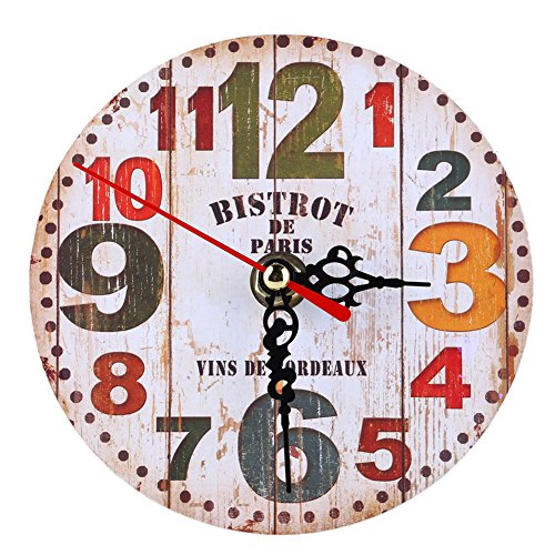 Awakingdemi Vintage Wooden Wall Clock Large Shabby Chic Rustic Kitchen Home (#02)