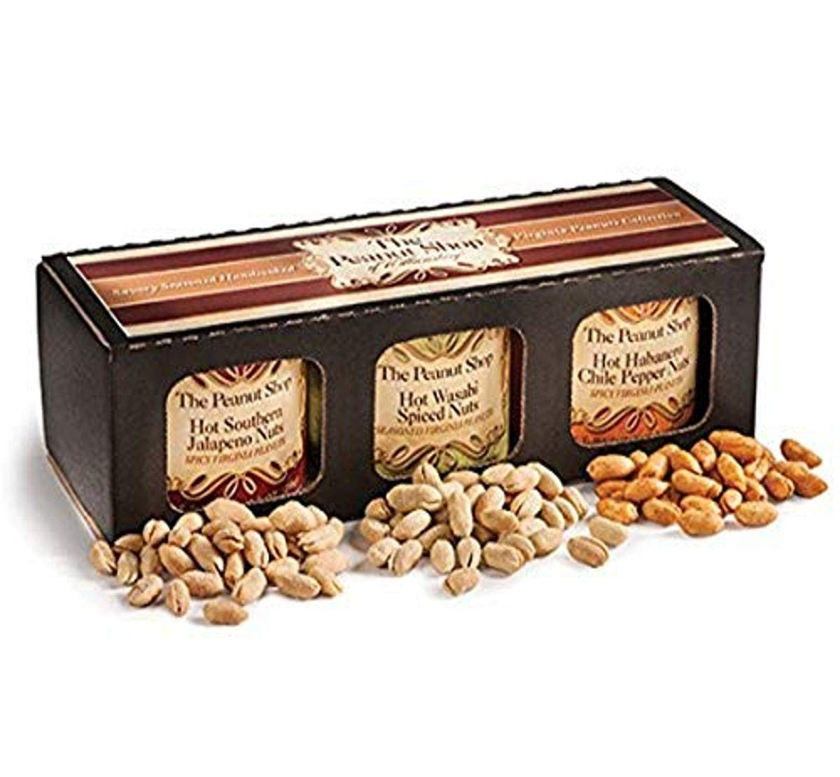 The Peanut Shop of Williamsburg Hot & Savory Nut Gift Box, Spicy, 2 Pound