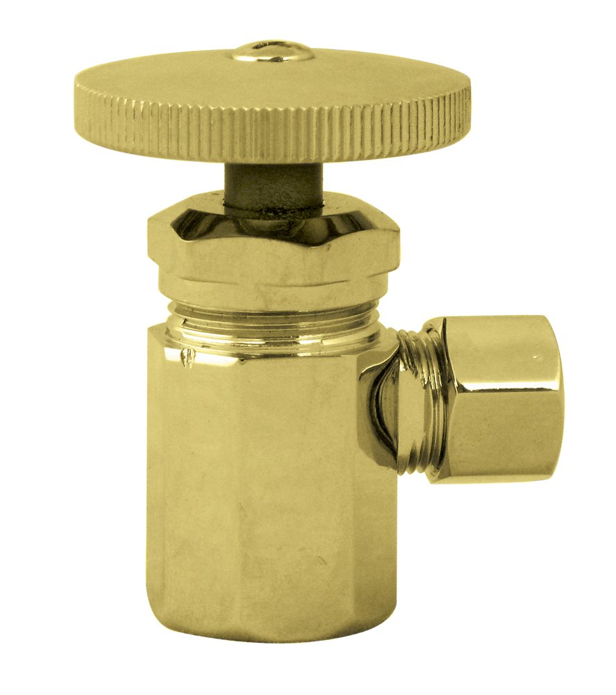 D103-07 Westbrass Round Handle Angle Stop Shut Off Valve Satin Nickel 1//2 IPS Inlet with 3//8 Compression Outlet