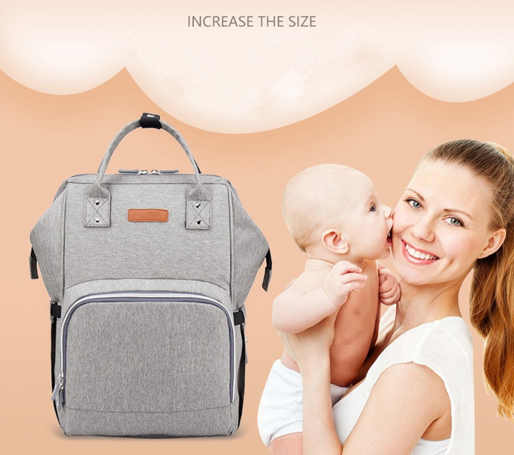 Diaper Bag Backpack with USB Charging Port, Multi-Function Large Capacity Waterproof Backpack for Travel with Baby, Stylish Durable Nappy Backpack with Stroller Straps (Grey)