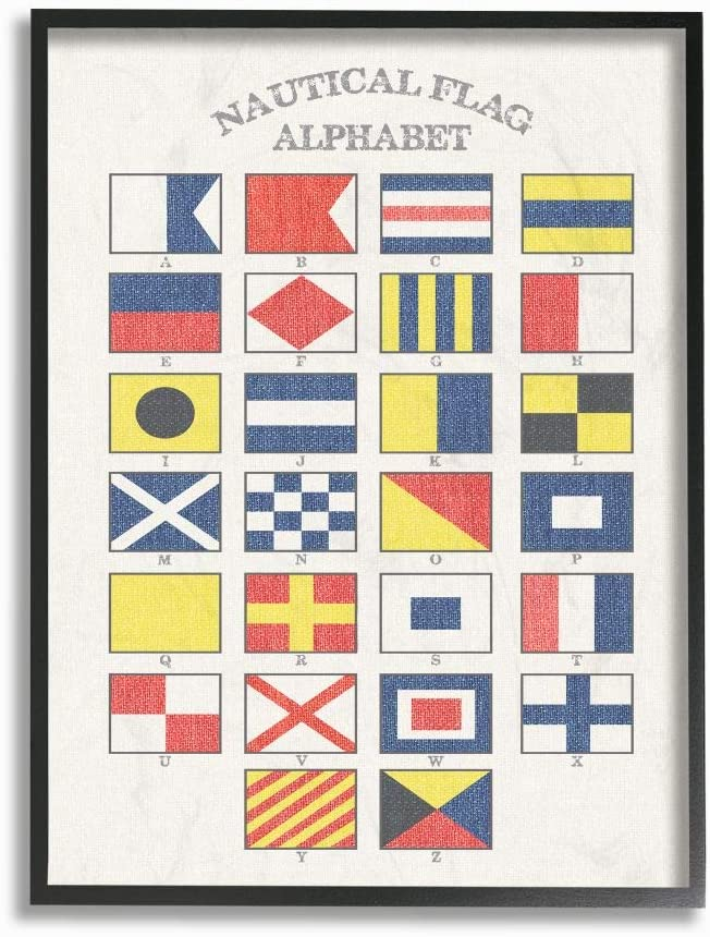Stupell Industries Nautical Flag Alphabet Black Framed Wall Art, 11 x 14, Design by Artist Daphne Polselli