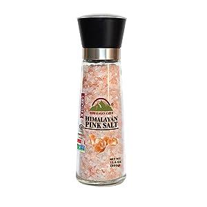 Himalayan Chef Salt Coarse SaltTall Grinder, Pink, Pink Salt Coarse Refillable Glass Grinder, 13 Ounce