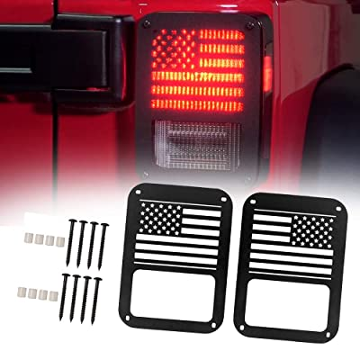 A ABIGAIL Tail Brake Light Cover Guard Protectors for 2007-2020 Jeep Wrangler JK Unlimited JKU Sahara Rubicon Sport Taillights Accessories - Pair (US Flag): Automotive
