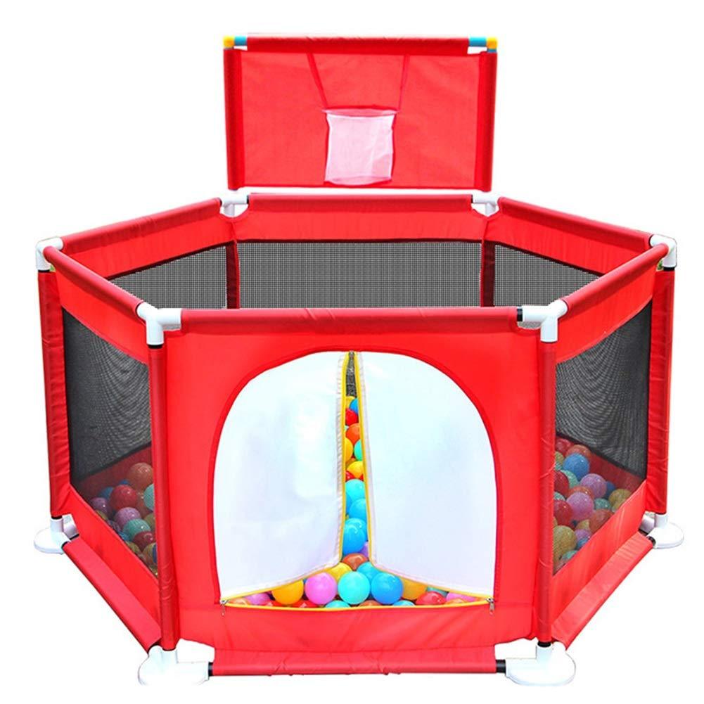 ポータブルベビーベビーサークルキッズアクティビティセンター屋内屋外安全Playardホームフェンスアンチフォールプレイペン (色 : 赤)  赤 B07QKTKLQV