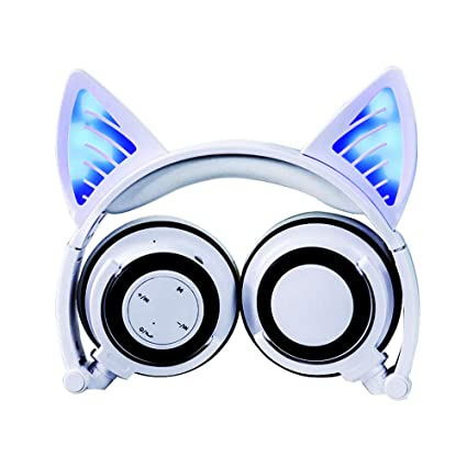GLDMT Head-Mounted Bluetooth Earphone Cat Ears Fashion Girl Headphones Outdoor Sports Portable Earphone Folding