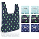 Reusable Grocery Bags Set of 6 Heavy Duty Foldable Shopping Tote Bag by Holotap Nylon Reusable Shopping Bag fits in Pocket Washable, Durable and Lightweight (Big Five-Pointed Star, Spot)
