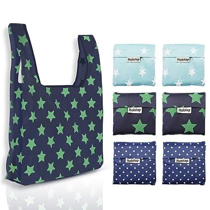 037a2e9c67f Reusable Grocery Bags Set of 6 Heavy Duty Foldable Shopping Tote Bag by  Holotap Nylon Reusable