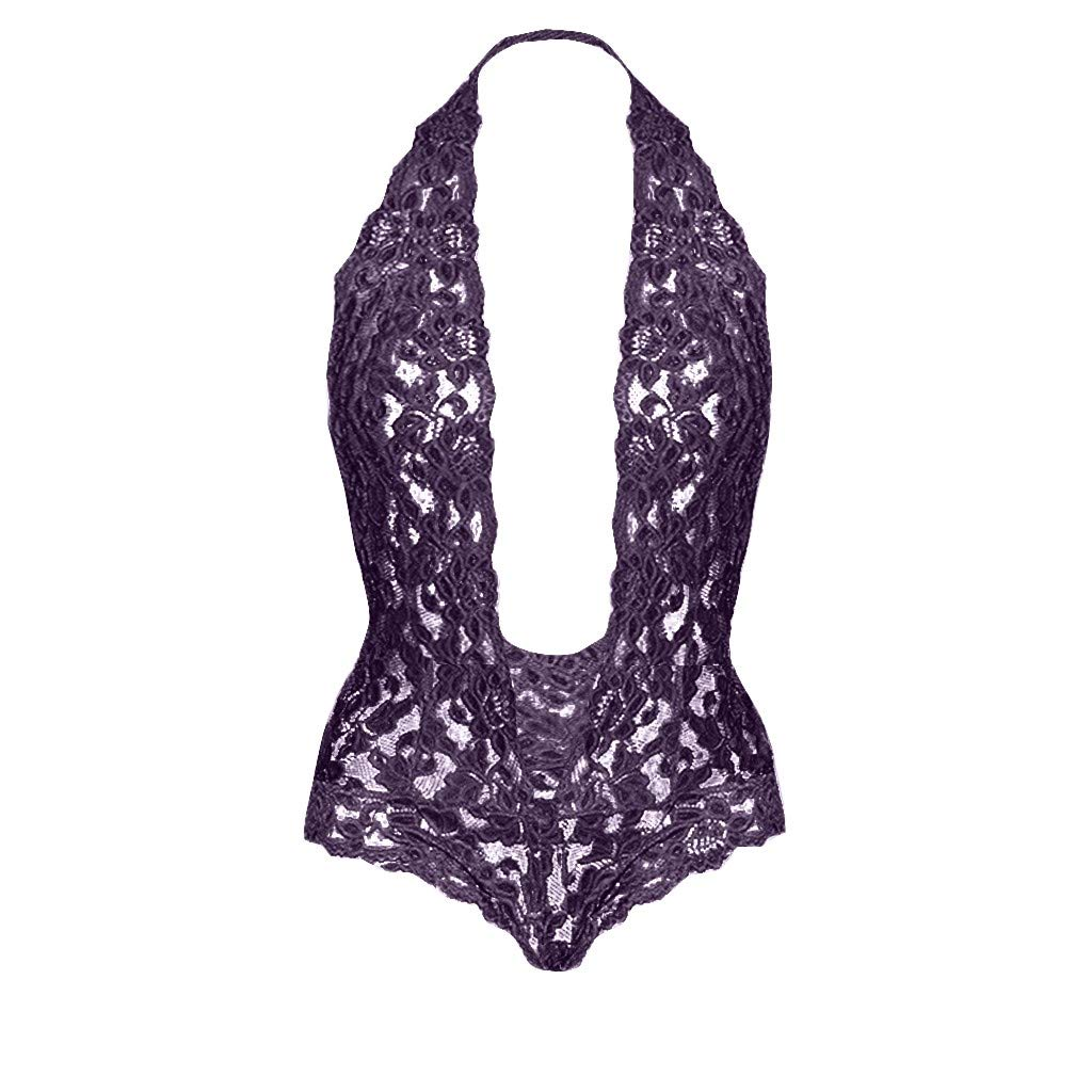 JQjian Deep V Sexy Womens Plus Size Halter Sexy Cute Lingerie Lace Teddy Bodysuit Underwear Backless (L, Purple) by JQjian (Image #4)
