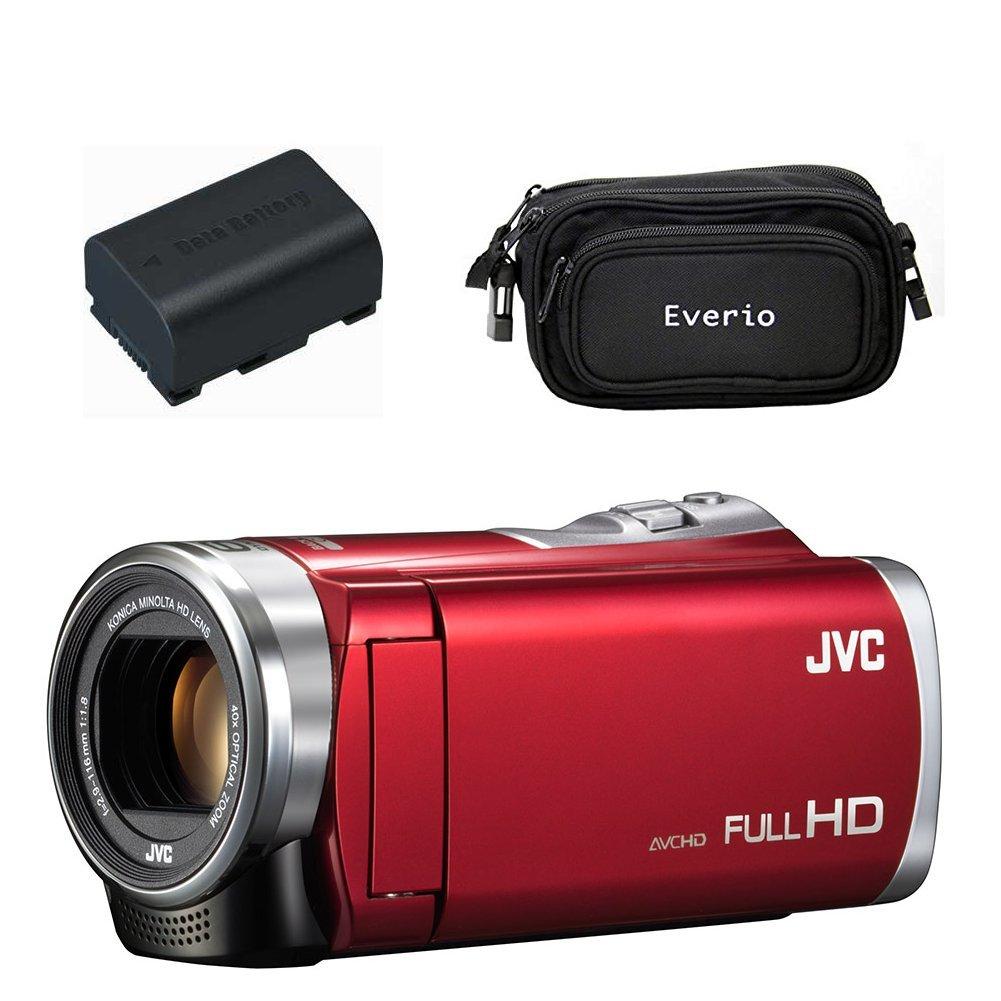 【ギフトラッピング済!!】JVC Everio 8GB内蔵メモリー フルハイビジョンビデオカメラ GZ-E880 レッド(R) + 予備バッテリー + バッグ  レッド(R) B07BFNZ8C9