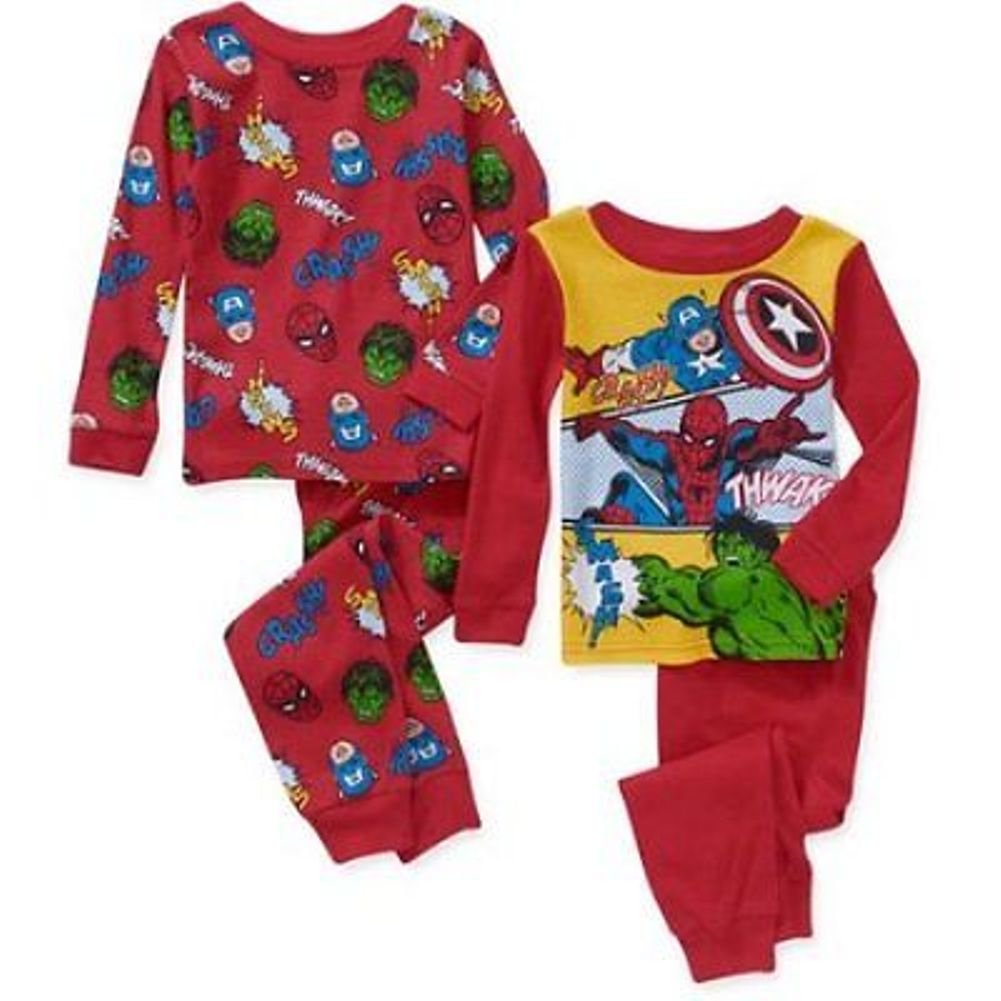Marvel Avengers Boy 4 PC Long Sleeve Tight Fit Cotton Pajama Set Size 5T